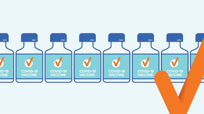 Blue and white line drawing of COVID-19 vaccine bottles with an orange tick