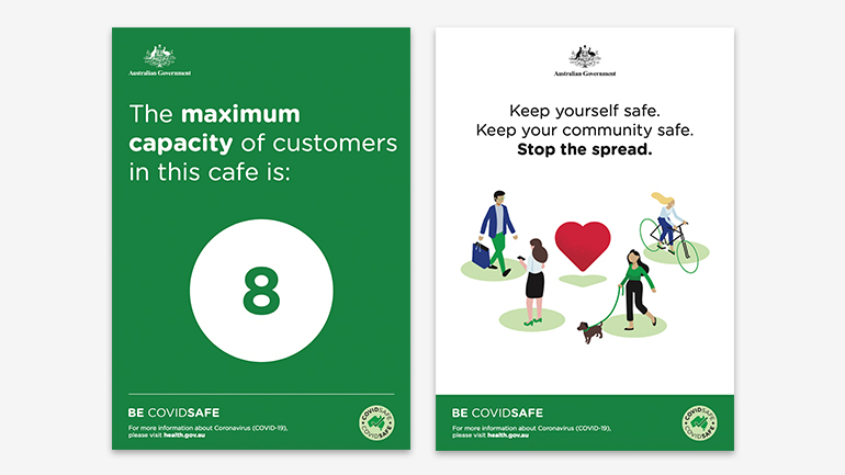 Two examples of COVIDSafe posters.