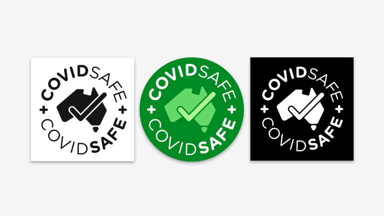 Three examples of the COVIDSafe logo.